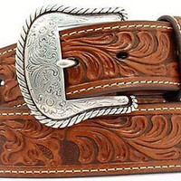Nocona Men's Western Leather Embossed Design Belt-Tan