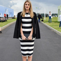 Monochrome Stripe Midi Dress