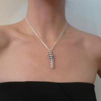 sterling silver spike cage cone pendant