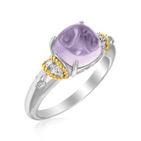 18K Yellow Gold & Sterling Silver Prong Set Square Amethyst and Diamond Ring: Size 7