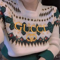 GUCCI Double G letter embroidery vintage jacquard sweater
