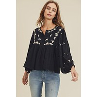 Embroidered Peasant Top - Final Sale