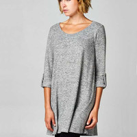 Lounge By The Fire Tunic - Heather Grey