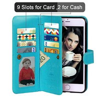 iPhone 6 Case, Vofolen 2 in 1 iPhone 6S Case Wallet Folio Flip PU Leather Case Protective Shell Magnetic Detachable Slim Back Cover Card Holder Slot Wrist Strap for iPhone 6 6S 4.7 inch (Blue)