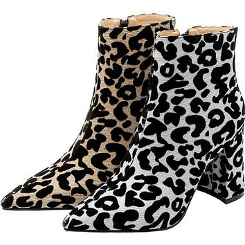 New sexy pointy high heel temperament leopard print versatile boots woman shoes