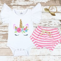 Unicorn Face Flutter Pink Shorts Outfit