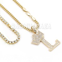 Crown L Initial Pendant Necklace Set