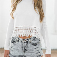 White Crochet Lace T-shirt