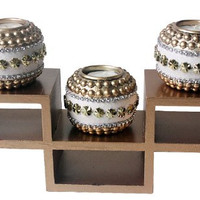 SET OF 3 WOODEN CANDLE HOLDER W/TEALIGHT STEP SHAPE WOODEN TRAY, GOLD [Kitchen]