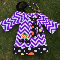 Girls Halloween Witch Dress, Halloween Witch Outfit, Toddler Witch Outfit, Purple Chevron Dress, Girls Halloween Outfit,  Pumpkin Necklace