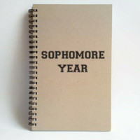 Sophomore Year, 5x8 writing journal, custom spiral notebook, personalized brown kraft memory book, small sketchbook, college, high school