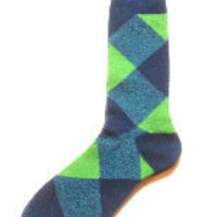 Men's Boot Socks- Blue Argyle