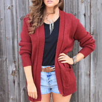 Drape Wine Cardigan
