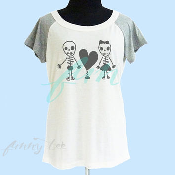 Skeleton love tshirt cream grey women tshirt size S M L shirt **Dog quote shirt **women tshirt **short raglan shirt