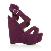 H30 Purple Faux Suede Stiletto Very High Heel Strappy Platform Shoes