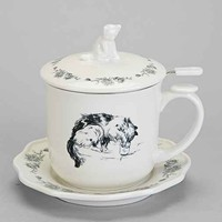 Cat Teacup Set- Black & White One
