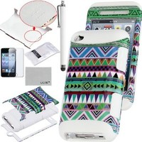 Pandamimi ULAK(TM) 3-Piece Hybrid High Impact Case Tribal Pattern Soft Silicone for Apple iPod Touch Generation 4 and Screen Protector with Stylus (White--Green Tribal)