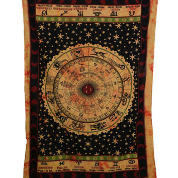 Indian Astrology Zodiac Orange and Black Beautiful Printed Tie-Dye  Home Decor Wall Hanging Tapestry