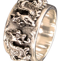Twin Dragon Ring Medieval Coat of Arms in Bronze