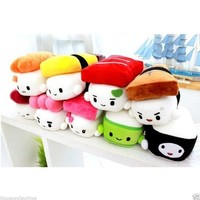 "SUSHI 6"" (15cm) Cute Plush Pillow Cushion Doll x9 SET Toy Gift Bedding Room Decoration Kawaii Egg, Shrimp, Tuna, Flying Fish, Cucumber, Eel, Chub Mackerel, Salmon, Octopus"