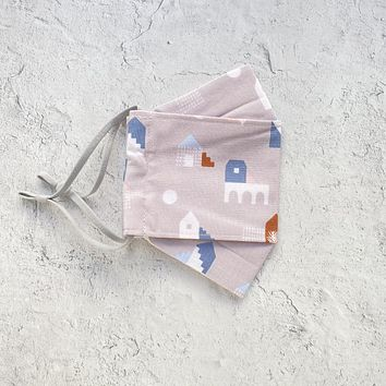 Origami Face Mask - Houses in Soft Grey