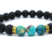 Lava Stone Beads Natural Stone Bracelet, Men Jewelry, Stretch Yoga Bracelet