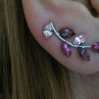 Ear Sweep Wrap Earring - with Swarovsky - Unique- The Rosa Nr3