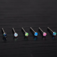 Fire Opal Nose Bone Stud Ring 20G Opal Jewlery Choose Your Color Stone Piercing