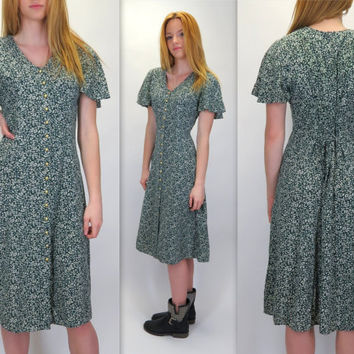 Vintage 90s Button Front Green Tiny Vines Floral Print Flutter Sleeve Below Knee Rayon Midi Dress Ditsy Grunge Corset Tie Back Medium