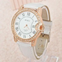 Shiny rhinestones fashion leather woman watch
