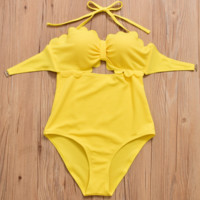 High quality fashion bowknot type scalloped halter high waist two piece bikini yellow