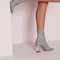 Perspex Grey Patent Clear Heel Ankle Boots