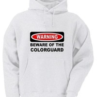 WARNING BEWARE OF THE COLORGUARD Adult Hoody Sweatshirt WHITE LARGE [Apparel]