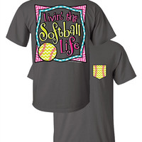 SALE Southern Couture Livin the Softball Life Sports Chevron Faux Pocket Girlie Bright T Shirt