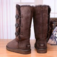 Tagre™ UGG Women Fashion Button Flats Leather Boots In Tube Boots Shoes