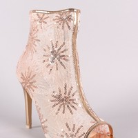 Mesh Flower Sequin Stiletto Booties