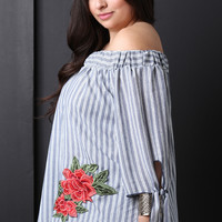 Striped Bardot Floral Patched Top