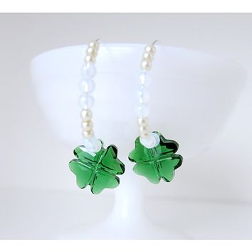 St Patty Clover - Swarovski Crystal SS Hoops - Opalite Pearl - 925 Sterling Silver - Hoop Earrings St Patricks Day Emerald Clover