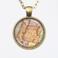 Oregon Map Necklace - Vintage Map of the State of Oregon-Vintage Map Series