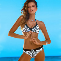 Halter Neck Geometric Print Reversible Two Piece Bikini