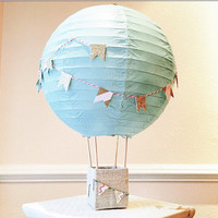 Hot Air Balloon Decorations Centerpiece - up up and away theme, hot air balloon theme, hot air balloons, fly away theme - mint and gold
