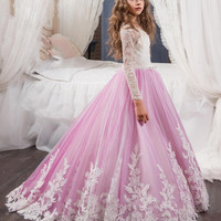2017 Princess Long Sleeves Lace Flower Girl Dresses 2017 Vestidos Puffy Pink Kids Evening Ball Gown Party Pageant Dresses Girls