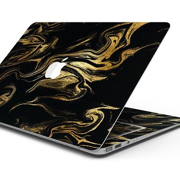 """Black & Gold Marble Swirl V7 - Skin Decal Wrap Kit Compatible with the Apple MacBook Pro, Pro with Touch Bar or Air (11"""", 12"""", 13"""", 15"""" & 16"""" - All Versions Available)"""