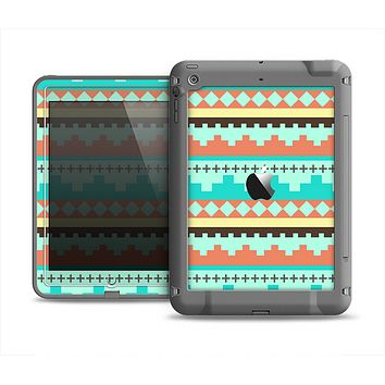 The Teal & Gold Tribal Ethic Geometric Pattern Apple iPad Mini LifeProof Fre Case Skin Set