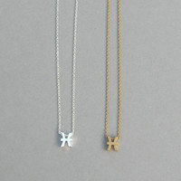 Zodiac Pisces Necklace in Silver Plated or Raw Brass