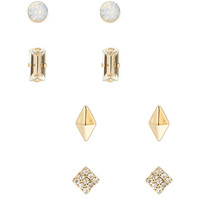 FOREVER 21 Bejeweled Stud Set Gold/Clear One