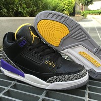 Nike Jordan Air Jordan 3 Retro Black/Purple/Yellow Leather Basketball Shoe-1