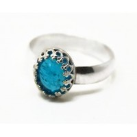 Oval Neon Apatite Ring, Blue Gemstone Engagement Ring, Wedding Ring, Sterling Silver Cocktail Ring
