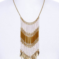 NECKLACE / LEAF / MICRO BEAD / TEXTURED METAL / METAL CHAIN / LINK / 5 1/2 INCH DROP / 18 INCH LONG / NICKEL AND LEAD COMPLIANT