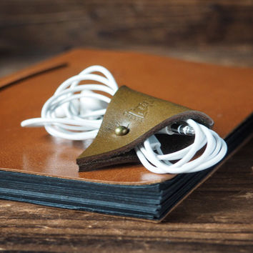 Leather Cord Holder #Olive Green